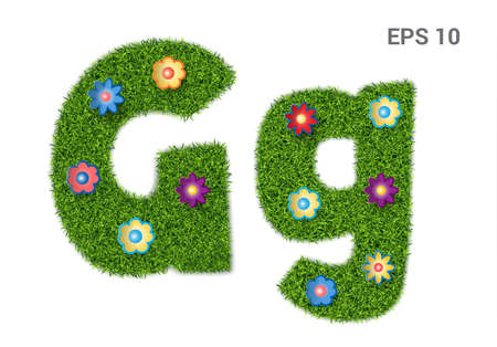Letter Gg with a texture of grass and flowers. Illustration