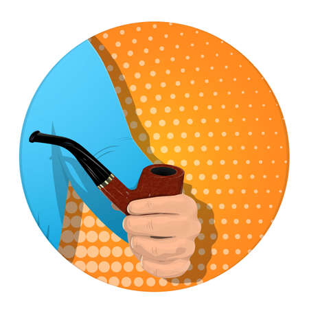A man s hand holds a smoking pipe. On an orange background. Banner for business. Vector illustration.