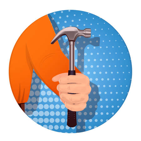 A man s hand holds a hammer. On a blue background. Banner for business. Vector illustration.