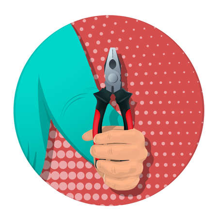 A man s hand holds a tool for repair. On an abstract background. Banner for business. Vector illustration.
