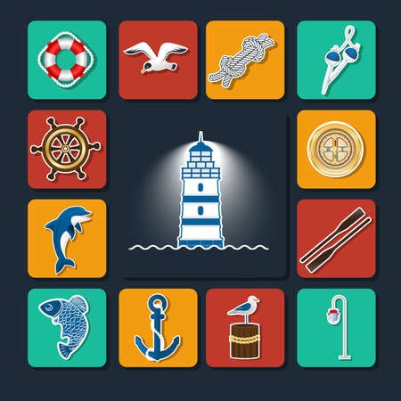 Set of icons on a sea theme. Steering wheel, compass, floats, anchor, circle, dolphin, lantern, against a dark background lighthouse in the center. With a white outline and soft shadows. Vector illustration.