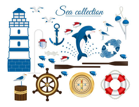 Marine collection. Set of vector symbols compass, life ring, anchor, lighthouse, gull, oars, floats, fish. Isolated on white background, vector illustration.