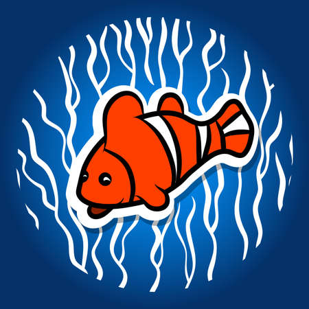 Fish parrot, orange, on a background of algae. Narrow character, In a flat style. Vector illustration. Illustration