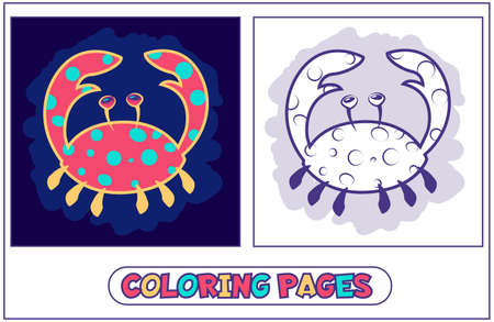 Cute crab coloring pages Illustration