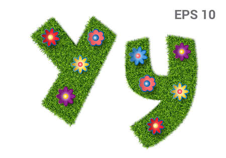 Yy - capital and capital letters of the alphabet with a texture of grass. Moorish lawn with flowers. Isolated on white background. Vector illustration