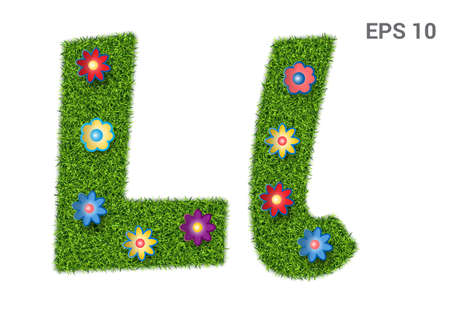 Ll - capital and capital letters of the alphabet with a texture of grass. Moorish lawn with flowers. Isolated on white background. Vector illustration
