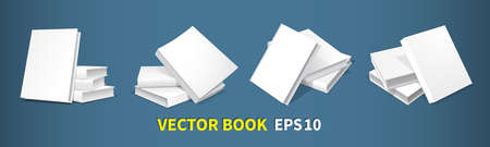 Models of book heaps. Four templates with white covers, soft shadows, realistic 3D image. For the design of books, publications. Isolated on a dark background. Vector illustration.