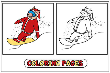 Coloring piggy - Santa riding a snowboard. Illustration from the set for the New Year 2019 and Christmas for children s creativity. Vector illustration on white background.