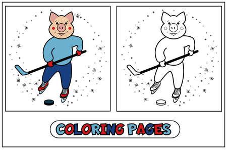 Kolorowanka świnka - gra w hokeja. Zestaw do kolorowania dla dzieci na nowy rok 2019 i Boże Narodzenie ze świnką sporty zimowe. Ilustracja wektorowa na białym tle. Ilustracje wektorowe