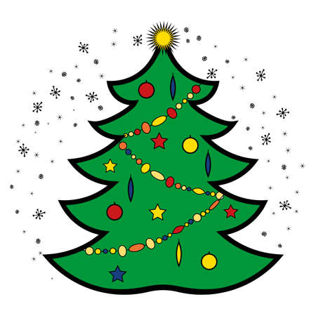 Christmas tree linear style icon.