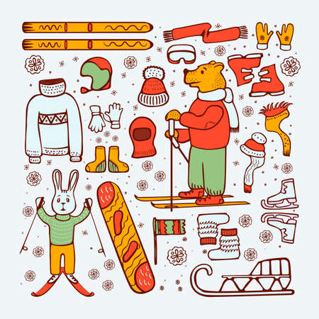 Doodle style, winter illustration. Drawing style. Bear, hare - skiers, winter warm clothing. Snowboard, ski sled On white background vector illustration Çizim