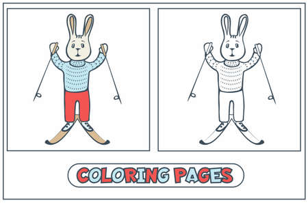 Rabbit skier, painting for painting with paints and colored pencils. For younger children. For children s creativity in preschool institutions. Coloring book. Vector illustration.