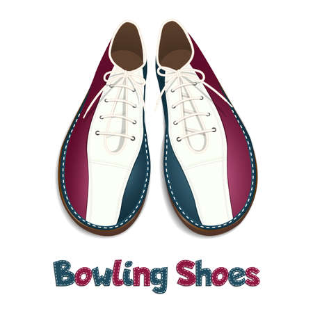 Bowling shoes. A pair of sports shoes for bowling. Top view with soft shadow. Isolated on white background