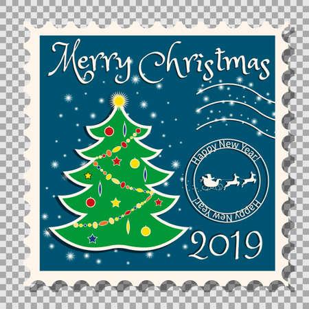 Christmas tree on a postage stamp