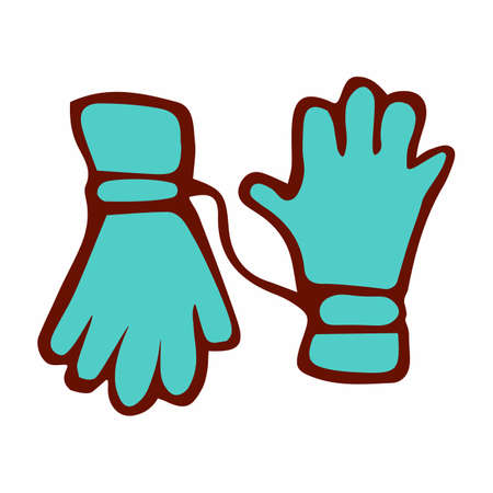 Bright-colored ski gloves. In the style of doodle. On white background, isolated. Vector illustration. Çizim
