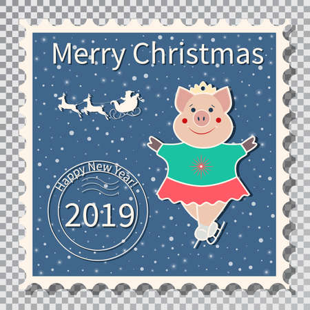 Year of the Pig, Postcard with a stamp, the image of a pig that skates - figure figure. Sports in the winter. On a transparent background vector illustration