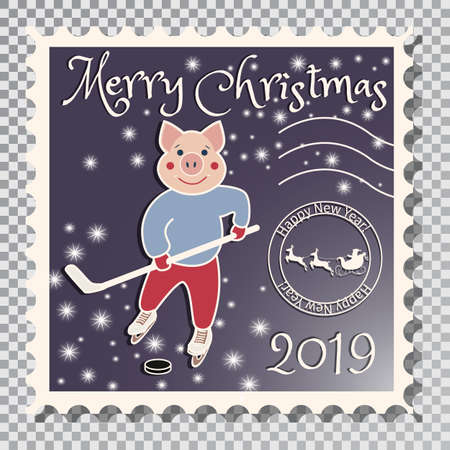 Year of the pig, Postcard with a stamp, the image of a pig that plays hockey. Sports in the winter. On a transparent background vector illustration Çizim
