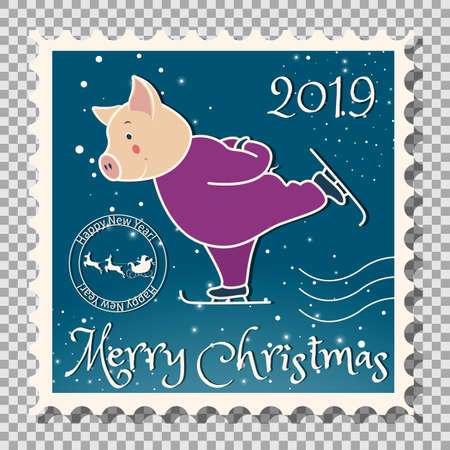 Year of the pig, Postcard with a stamp, the image of a pig, which runs on skates. Sports in the winter. On a transparent background vector illustration