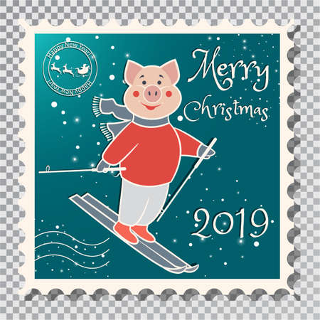 Year of the Pig, Postcard with a stamp, the image of a pig that rides on skis. Sports in the winter. On a transparent background vector illustration