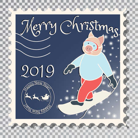 Year of the pig, Postcard with a stamp, the image of a pig who rides a snowboard. Sports in the winter. On a transparent background vector illustration