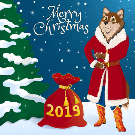 Greeting card. A wolf in a Santa costume wishes you a Happy New Year and Merry Christmas. Near the red bag with gifts. The inscription 2019. Against the backdrop of a winter forest and a dressed up Christmas tree. Vector illustration.