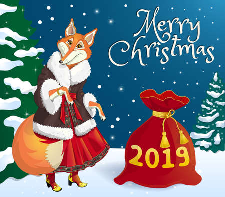 Greeting card. Fox in elegant winter clothes wishes Merry Christmas and Happy New Year. Near the red bag with gifts. The inscription 2019. Against the backdrop of a winter forest and a dressed up Christmas tree. Vector illustration.
