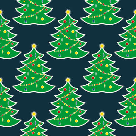 seamless background with the symbol of the new year 2019. Christmas tree with garlands and balls toys. Doodle style on a dark background. Vector illustration
