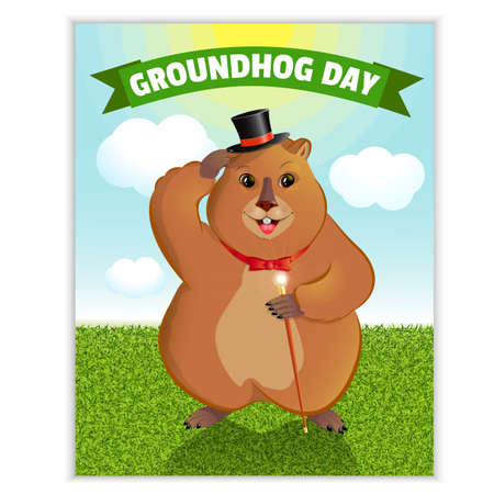 Happy Groundhog Day - a spring holiday. February 2nd. Greeting card, sun, herbs, shadow of a groundhog. Marmot with a cane, in a cauldron. Vector graphics. Çizim