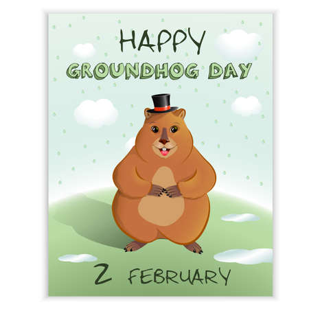 Happy Groundhog Day - spring holiday.February 2nd. Greeting card, rain, puddles, groundhog shadow. Marmot in a bowler hat. Vector graphics. Illustration