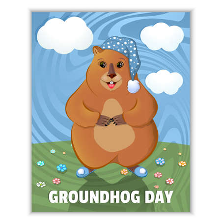 Happy Groundhog Day - spring holiday. February 2nd. Greeting card, grass, flowers, blue groundhog non-careless. Marmot in a nightcap and slippers. Vector graphics. Çizim