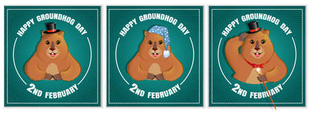 Happy Groundhog Day is a spring holiday. February 2nd. Set of square banners. Marmot with a cane, in a bowler hat, in a nightcap and slippers. Vector graphics. Illustration