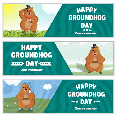 Happy Groundhog Day is a spring holiday. February 2nd. Set of horizontal banners. Marmot with a cane, in a bowler hat, in a nightcap and slippers. Vector graphics. Çizim