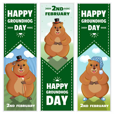 Happy Groundhog Day is a spring holiday. February 2nd. Set of vertical banners. Marmot with a cane, in a bowler hat, in a nightcap and slippers. Vector graphics.