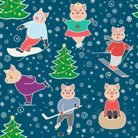 Seamless pattern with characters involved in winter sports. Pigs skier, skater, snowboarder, skater .. Color illustration in doodle style. Vector.