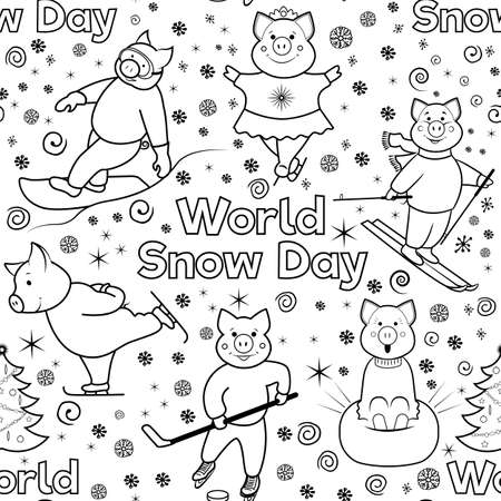 Seamless pattern with characters involved in winter sports. World Snow Day. Pigs skier, skater, snowboarder, skater .. Black and white illustration of lines. Vector. Çizim
