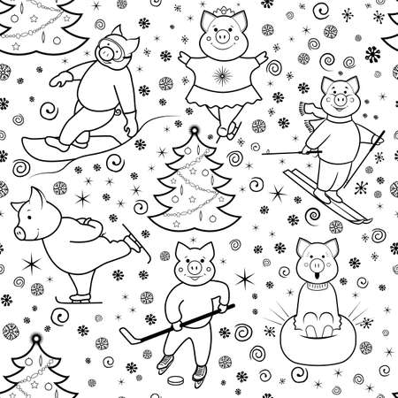 Seamless pattern with characters involved in winter sports. Pigs skier, skater, Snowboarder, skater . Black and white illustration of lines. Vector.