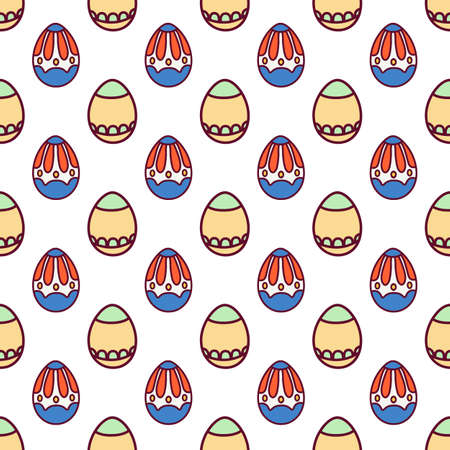 Seamless pattern easter eggs with ornament Easter image on white background. Printing for printing on fabric, paper, packaging. Vector illustration