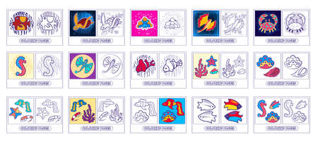 Collection coloring for kids - the underwater world - Residents of the seas and oceans. Fish, starfish, crab, turtle, seahorse, coral, flying fish.Isolated on a white background. Vector illustration.