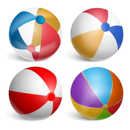 Conjunto de pelotas de playa inflables. Ilustración realista aislado sobre fondo blanco. Ilustración de vector.