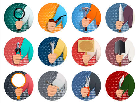 A set of icons for different professions, a person s hand holds a diverse professional tool. To advertise a different business. Realistic illustration. Vector.