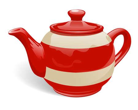 Teiera in ceramica realistica. Rosso e beige con strisce. Isolato su sfondo bianco. Illustrazione vettoriale.