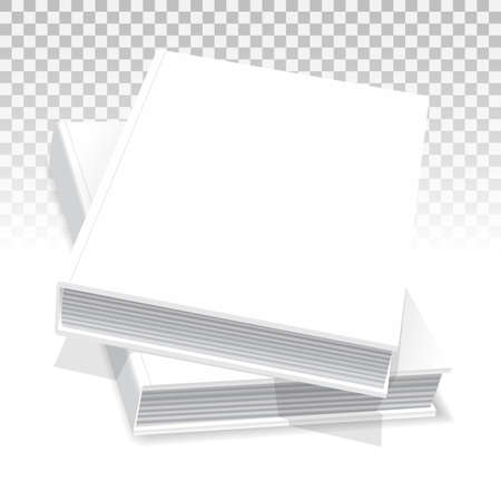 A template of two white hardcover books. They lay on the table. one on the other. Closed. Mockup for your business, creative illustration. Isolated on transparent background. Vector drawing.  イラスト・ベクター素材