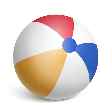 Inflatable rubber beach ball. Toy for children s games and sports. Realistic illustration on white background. Vector illustration Çizim