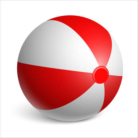 Inflatable rubber beach ball. Red and white. Realistic illustration on white background. Vector illustration