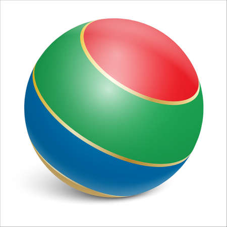 Rubber ball. Colorful. Realistic illustration on white background. Vector illustration
