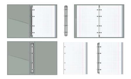 Set open ring binder folder