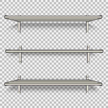 metal shelves on the wall