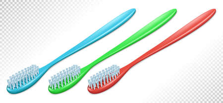 Three plastic toothbrushes