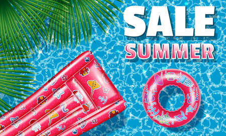 Banner with palm leaves. Summer sale inflatable with a patterned circle and a bright-colored swimming mattress. Poster - advertising for shops and enterprises. Realistic 3D style. Vector illustration Çizim