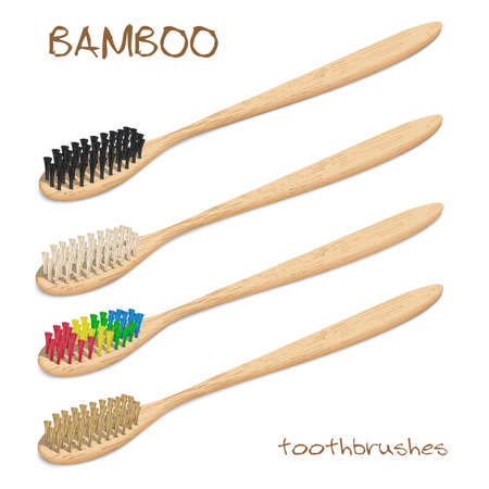 Bamboo toothbrushes. Varicoloured, natural bristle. Zero waste, Biodegradable material. Eco-friendly products. Isolated on white background. Different viewpoint angle. Vector illustration. Çizim